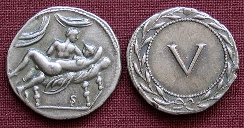 Roman Erotic Spintriae V, Tin Replica